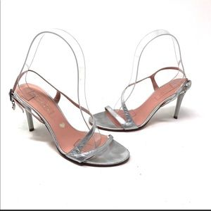 Escada silver wedding sandals heels 7 A7